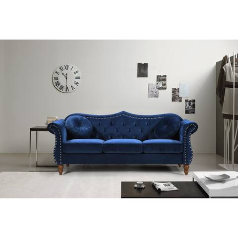 "Gracewood Hollow Mantel Mid-century Nailhead Chesterfield Sofa - 8'9"" x 12'9"""