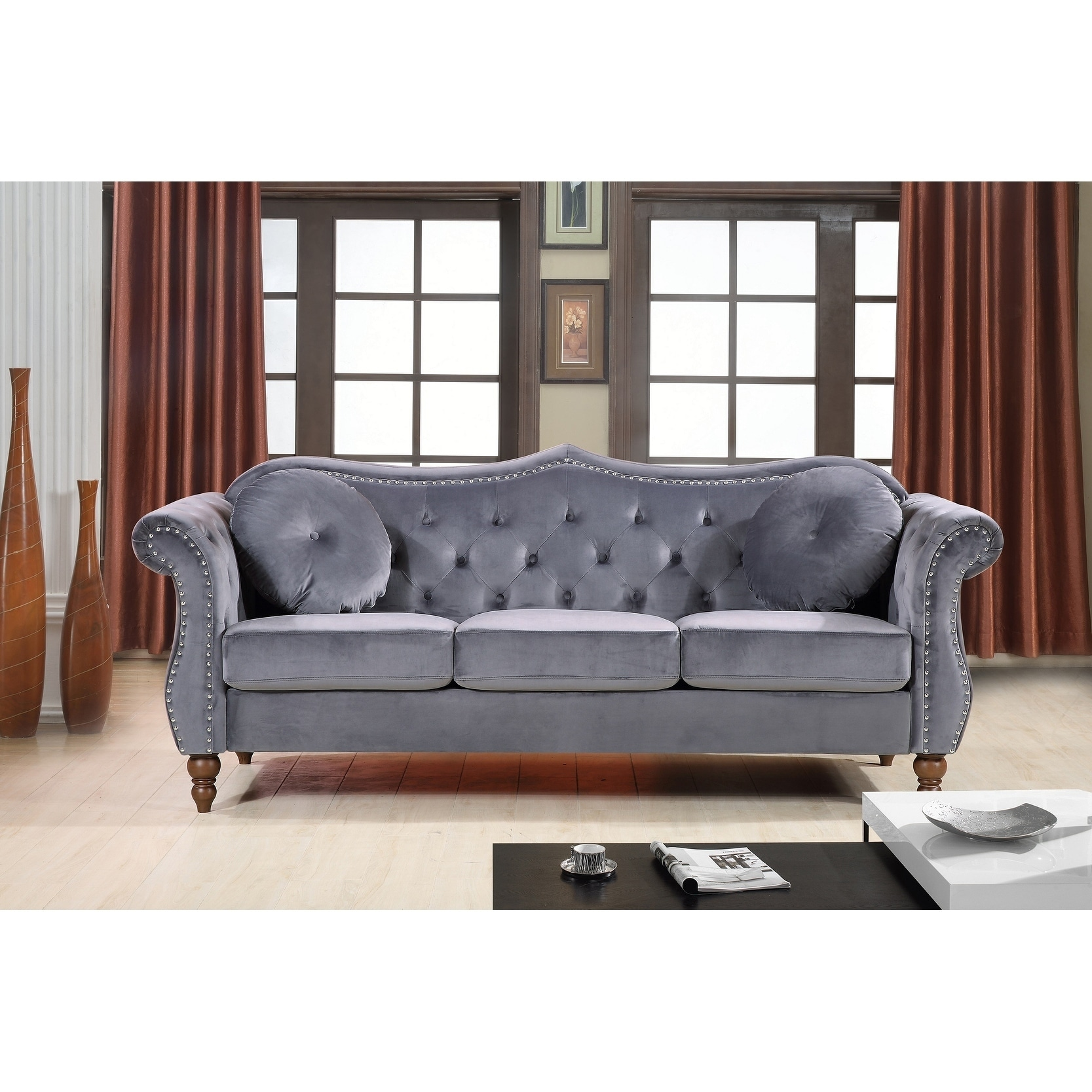 Pleasing Gracewood Hollow Mantel Mid Century Nailhead Chesterfield Sofa 89 X 129 Pabps2019 Chair Design Images Pabps2019Com