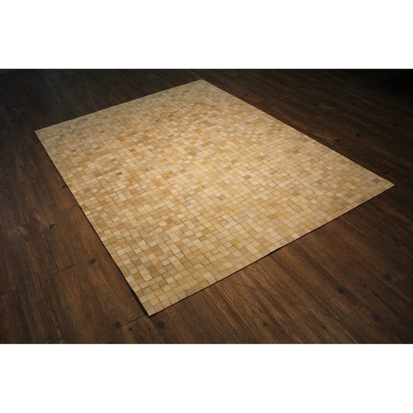 Leather Hair-on Hide Rug In Multi Beige with Felt Backing - 5' x 7'