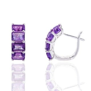 Sterling Silver Genuine amethyst omega earring - Purple