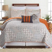 Amrapur Overseas Haifa Patchwork 5-Piece Printed Reversible Quilt Set