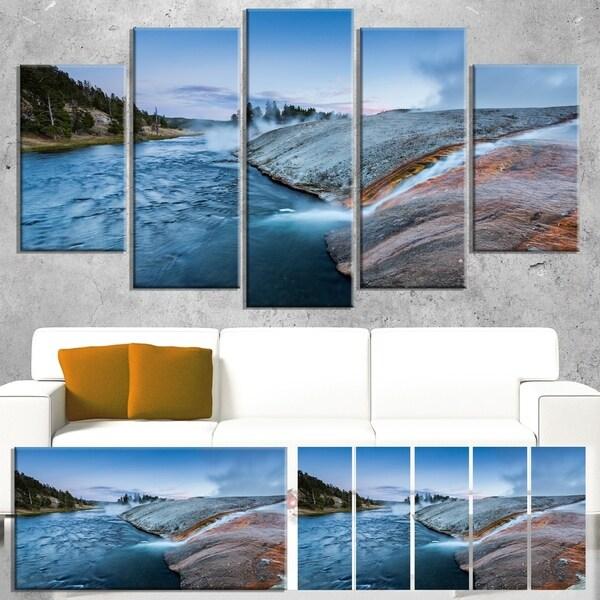 Designart 'Midway Geyser Basin In Yellowstone' Seashore Art Print on Canvas