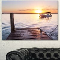 Boat View From Boardwalk on Beach - Large Seashore Canvas Art
