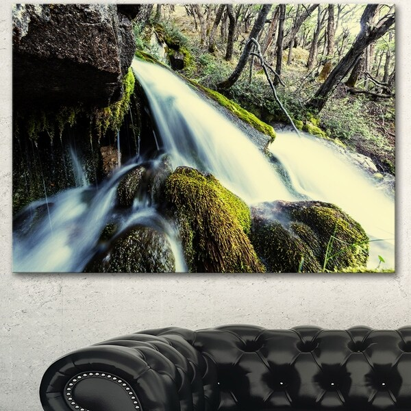 Waterfall in Forest on Rocks - Seashore Canvas Art Print