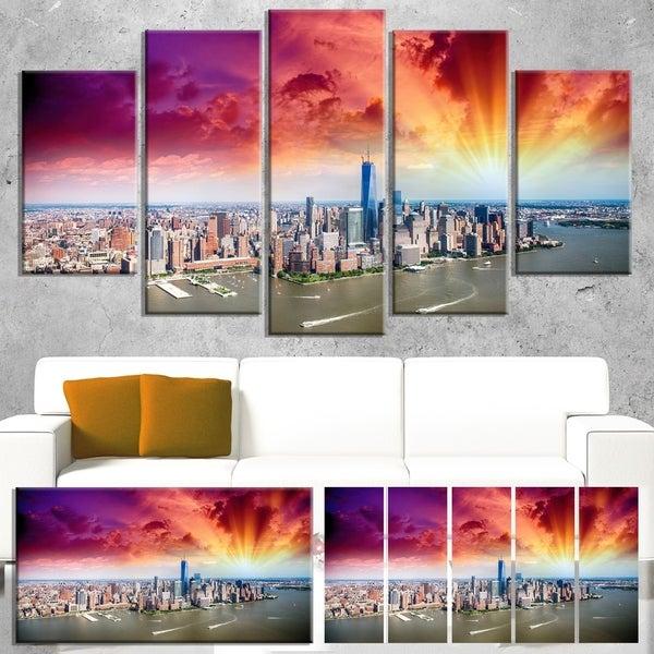 Designart 'Colorful New York Skyline Aerial View' Modern Cityscape Canvas Artwork