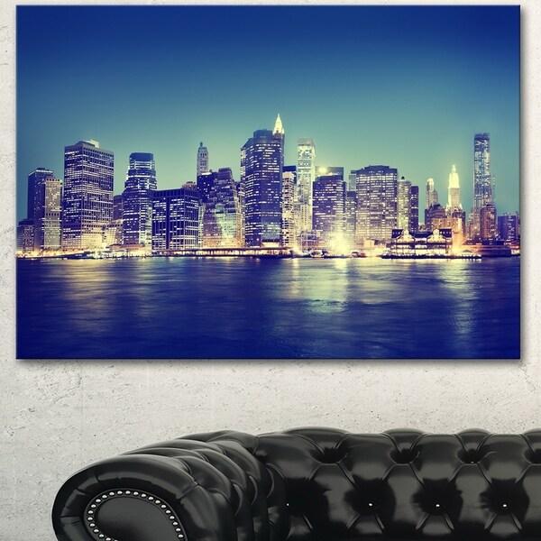Designart 'New York City Evening Panorama' Extra Large Cityscape Wall Art on Canvas