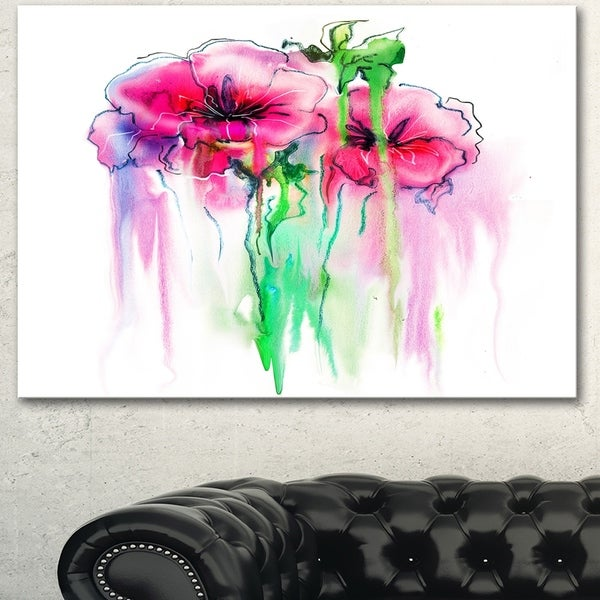 Designart 'Colorful Hand Drawn Red Flowers' Extra Large Floral Wall Art