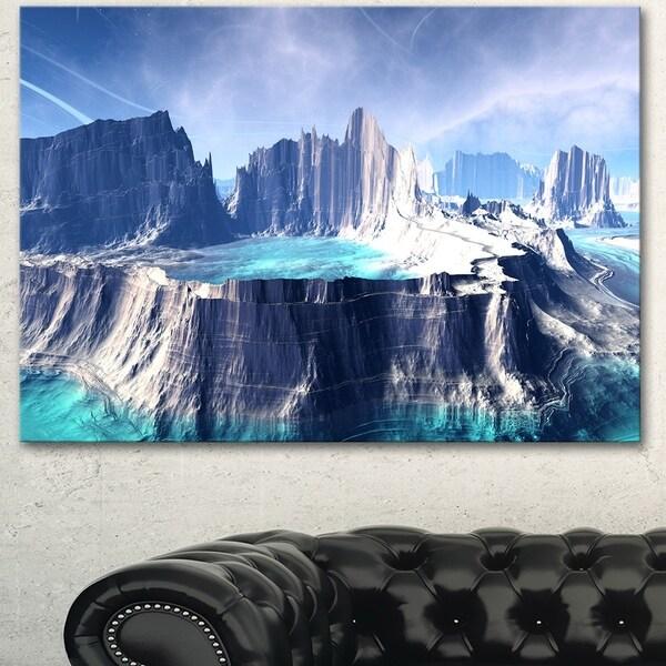 Designart '3D Rendered Fantasy Alien Planet' Landscape Wall Art Print Canvas