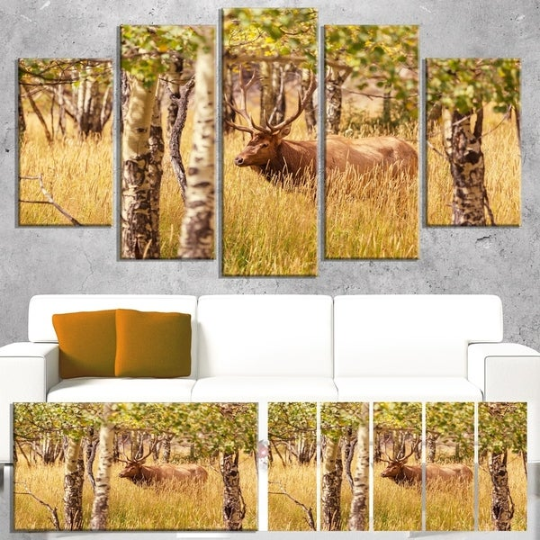 Designart 'Deer in Thick Forest Grassland' Oversized Landscape Canvas Art