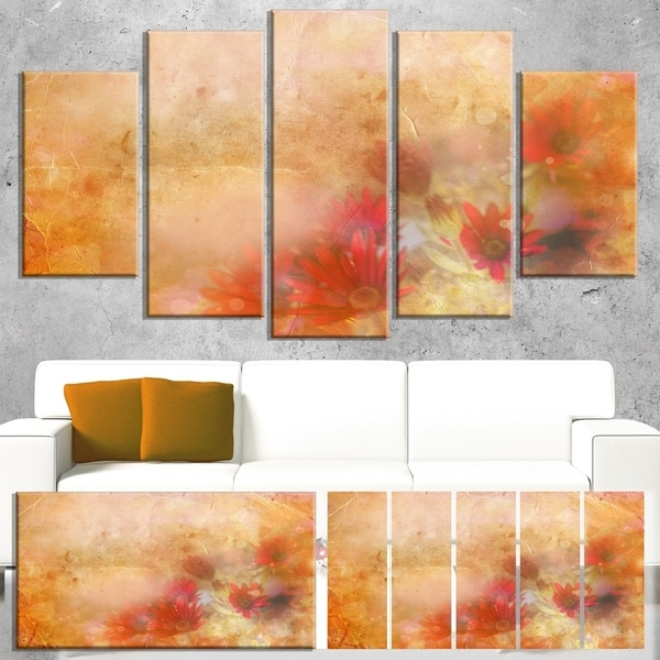 Designart 'Red and Pink Flowers on Brown' Large Floral Canvas Artwork