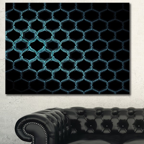 Designart 'Honeycomb Fractal Gold Hex Pixel' Extra Large Abstract Canvas Art Print