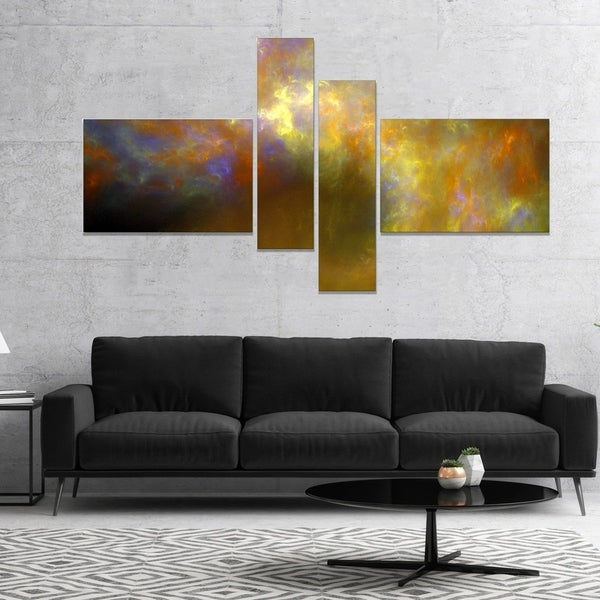 Designart 'Blur Yellow Sky with Stars' Abstract Canvas Art Print