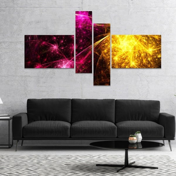 Designart 'Yellow Pink Colorful Fireworks' Abstract Canvas Art Print