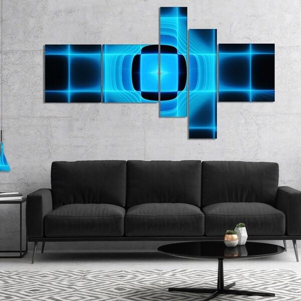 Designart 'Blue on Black Thermal Infrared Visor' Abstract Canvas Art Print