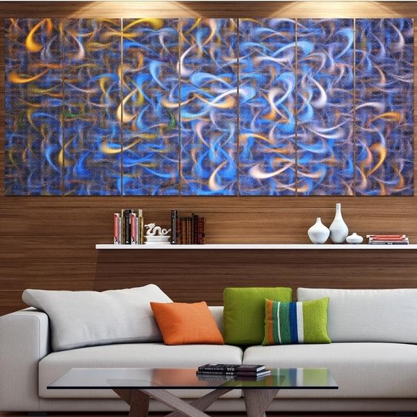 Designart 'Blue Golden Watercolor Fractal Art' Abstract Art on Canvas