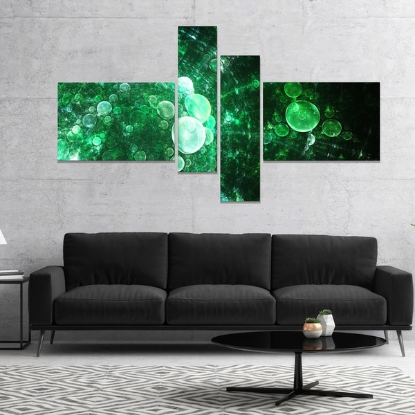 Designart 'Green Spherical Water Droplets' Floral Canvas Art Print