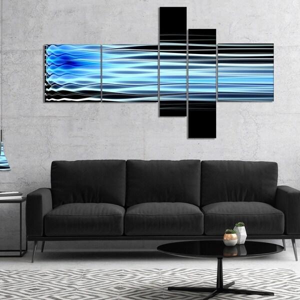 Designart 'Light Blue Fractal Waves' Abstract Art on Canvas