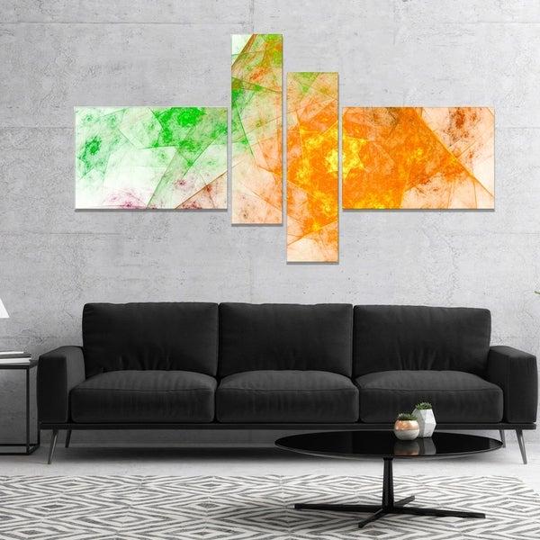 Designart 'Green Yellow Rotating Polyhedron' Abstract Canvas Art Print