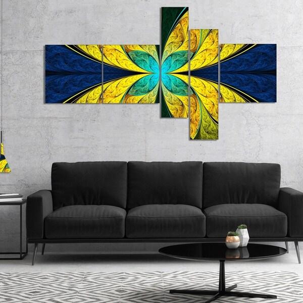 Designart 'Bright Yellow Blue Fractal Flower' Floral Canvas Art Print