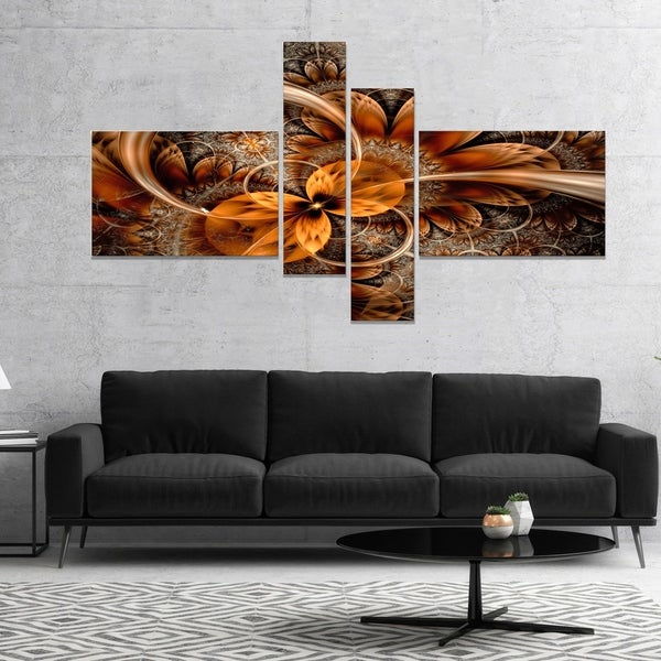 Designart 'Dark Orange Fractal Flower' Abstract Canvas Art Print