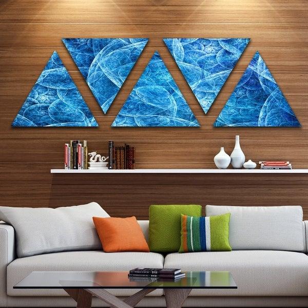 Designart 'Dark Blue Fractal Dramatic Clouds' Contemporary Triangle Canvas Art Print - 5 Panels