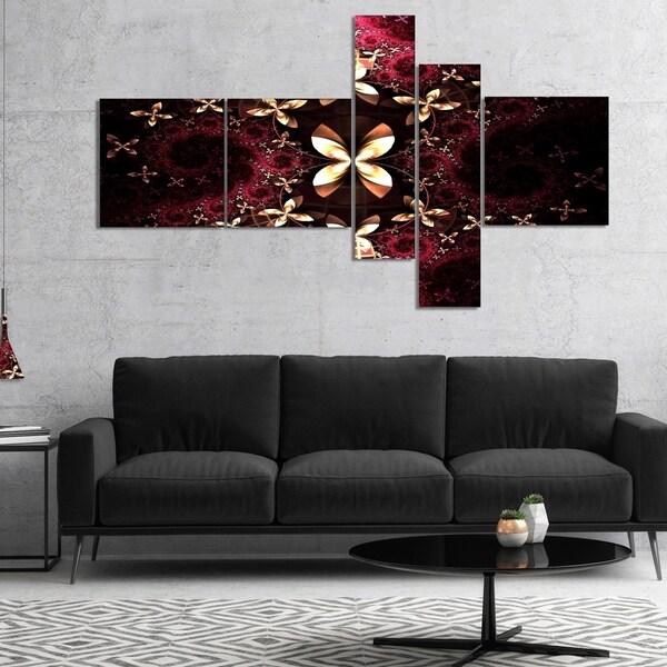 Designart 'Yellow Red Fractal Flower Pattern' Abstract Canvas Art Print