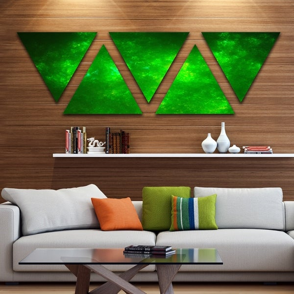 Designart 'Bright Green Fractal Sky with Stars' Contemporary Triangle Canvas Art Print - 5 Panels