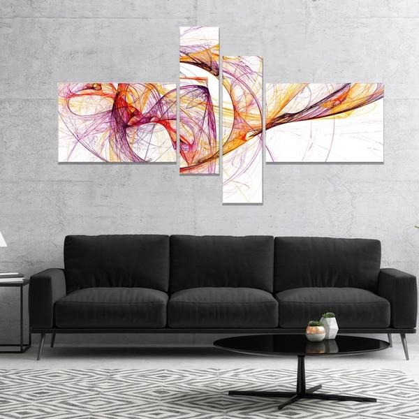 Designart 'Wisps of Smoke Orange Purple' Abstract Canvas art print