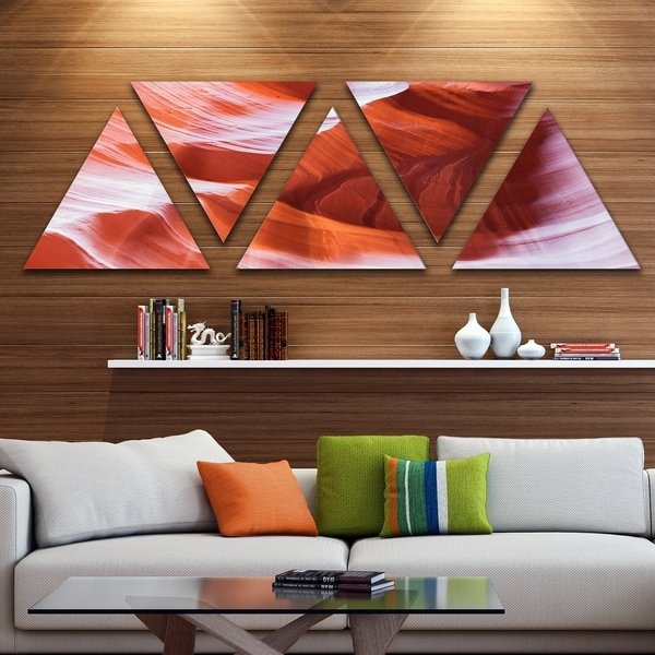 Designart 'Antelope Canyon Brown Wall' Landscape Photography Canvas Print - Triangle 5 Panels