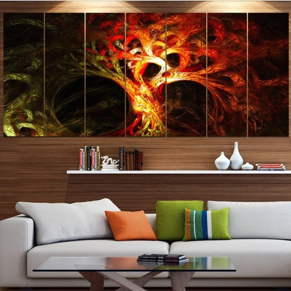 Designart 'Magical Orange Psychedelic Tree' Abstract Artwork on Canvas