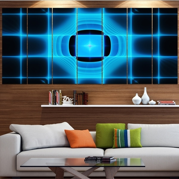 Designart 'Blue on Black Thermal Infrared Visor' Abstract Wall Art on Canvas