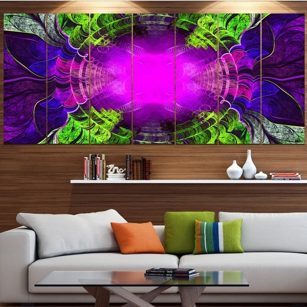 Designart 'Pink Fractal Circles and Curves' Abstract Wall Art on Canvas