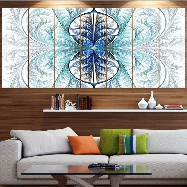Designart 'Light Blue Stained Glass Texture' Abstract Wall Art on Canvas