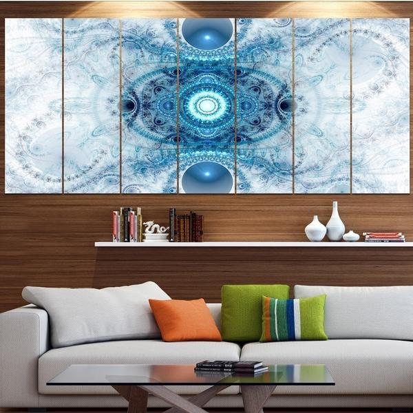 Designart 'Light Blue Fractal Pattern' Abstract Wall Art Canvas
