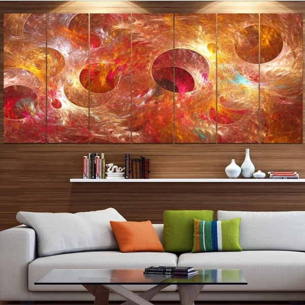 Designart 'Red Yellow Circles Texture' Abstract Artwork on Canvas
