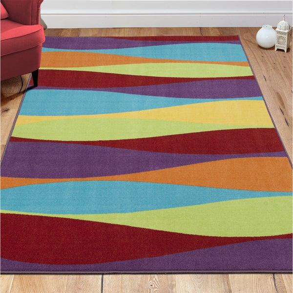 """Ottomanson Non-Slip Multicolor Modern Stripe Design Kids Area Rug - Multi-color - 5' x 6'6"""""""