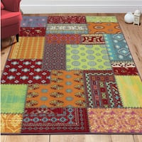Ottomanson Non-Slip Multicolor Modern Patchwork Design Kids Area Rug - Multi-color - 5' x 6'6""
