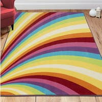 "Ottomanson Non-Slip Multicolor Modern Rainbow Design Area Rug Kids Rug - 5' x 6'6"""