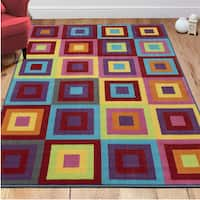 """Ottomanson Non-Slip Multicolor Modern Boxes Design Area Rug Kids Rug - 5' x 6'6"""""""