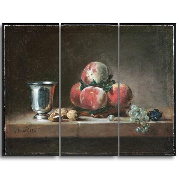 Design Art 'Jean Simeon Chardin - French Still Life' Canvas Art Print - 36Wx32H Inches - 3 Panels