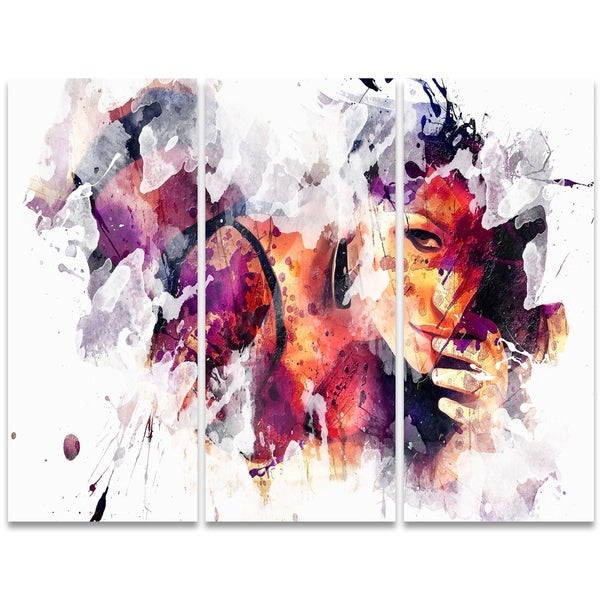 Design Art 'Eyes Only For You' 36 x 28-inch 3-panel Sensual Canvas Art Print
