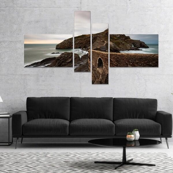 Designart 'Cape and Chapel in Spanish Beach' Seashore Photo Canvas Print