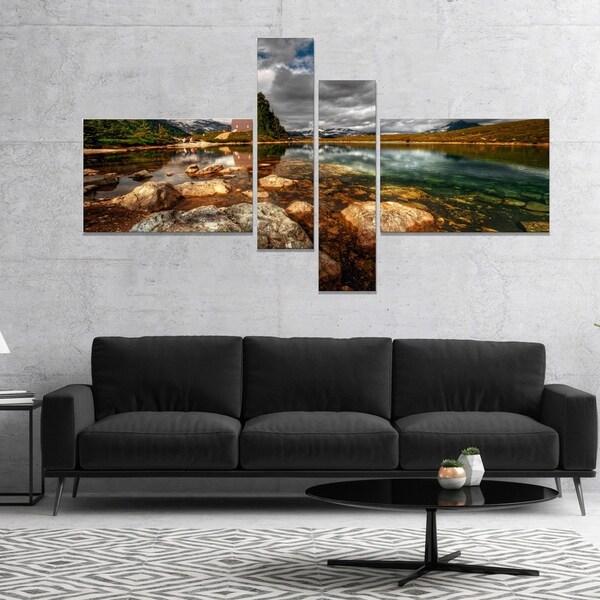 Designart 'Beautiful Clear Mountain Lake' Landscape Canvas Art Print