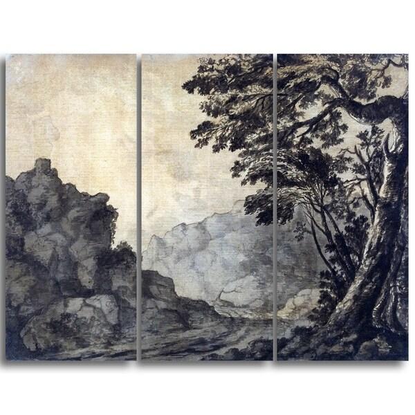 Design Art 'Alexander Cozens - A Road in a Mountain Landscape' Canvas Art Print - 36Wx28H Inches - 3 Panels