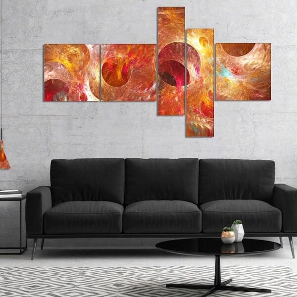 Designart 'Red Yellow Circles Texture' Abstract Canvas Art Print