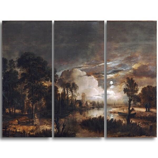 Design Art 'Aert van der Neer - Moonlit Landscape' Canvas Art Print - 36Wx28H Inches - 3 Panels