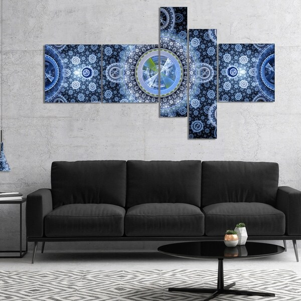 Designart 'Clear Blue Psychedelic Relaxing Art' Abstract Canvas Art Print