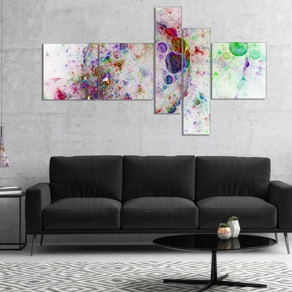 Designart 'Colorful Spherical Planet Bubbles' Abstract Canvas Print Art
