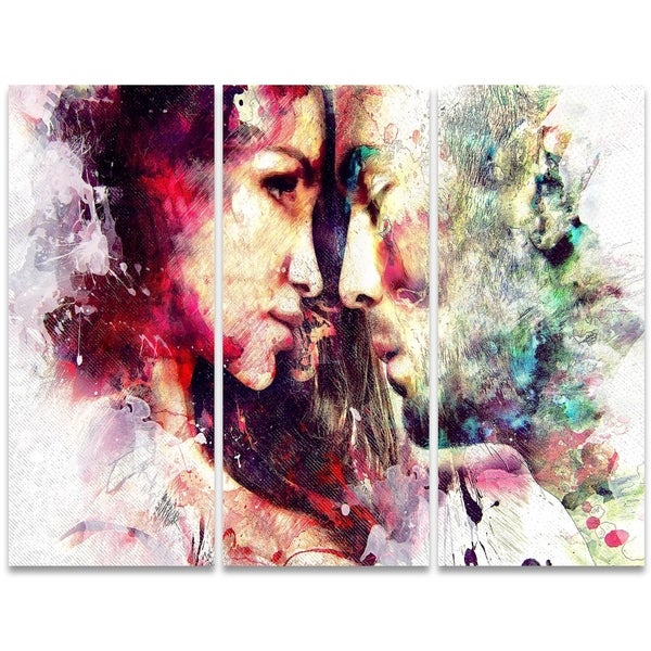 Design Art 'One and Only' 36 x 28-inch 3-panel Sensual Canvas Art Print