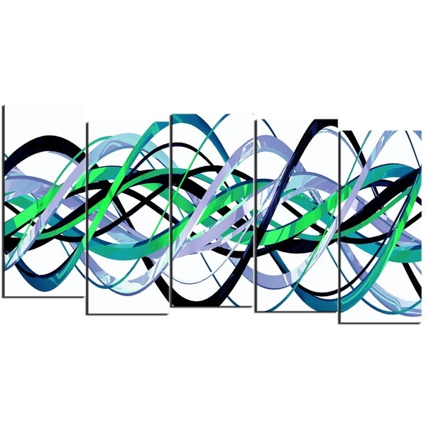 Design Art 'Green and Silver Helix' 60 x 32-inch 5-panel Modern Canvas Art Print